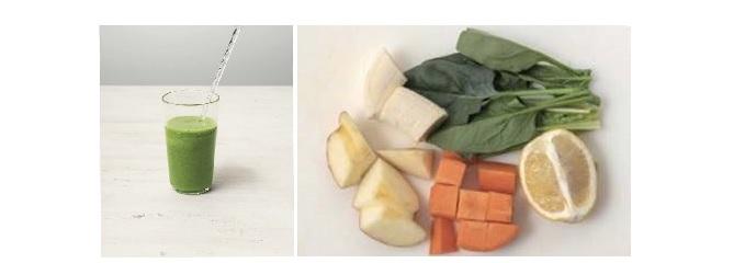 特製野菜ジュース(左)とその材料