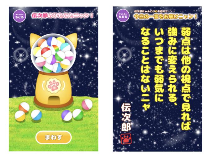 """アドバイザーは""""伝次郎にゃんこ""""♪ 悩みが吹き飛ぶ助言を届けてくれるアプリ「がちゃねこ2」"""