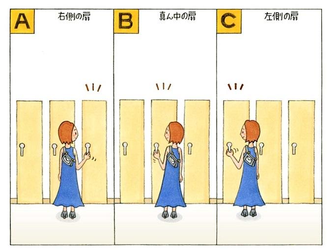扉と女性のイラスト