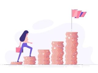お金の階段を上る女性