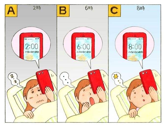 目が覚めて、時間を確認する女性のイラスト