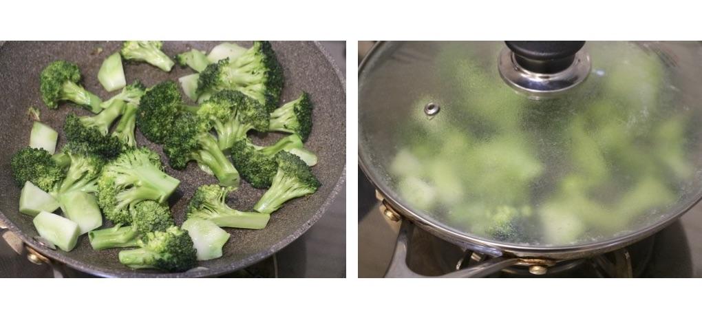 フライパンでブロッコリーを炒めてフタをする
