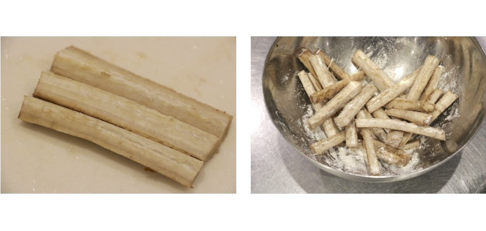 ごぼうの皮をよく洗い、塩こしょう、薄力粉でまぶす