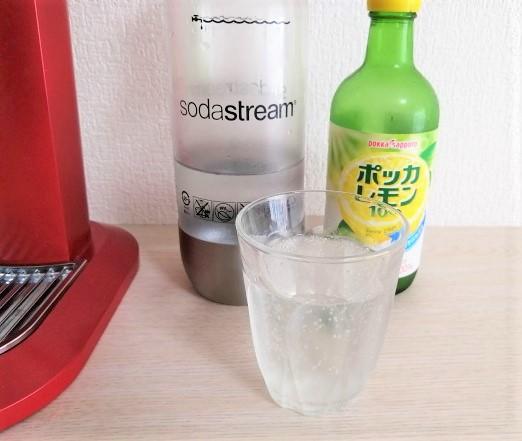 ソーダストリームで作ったレモン炭酸水の画像