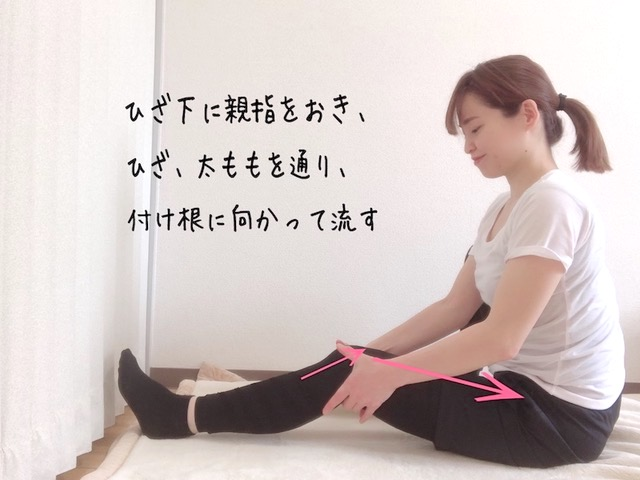 ひざ下に親指を置き、ひざ、太腿を通り付け根に向かって流す
