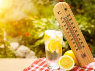 温度計とレモン水