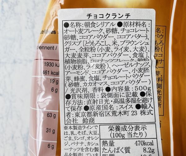 パッケージに記載された原材料名