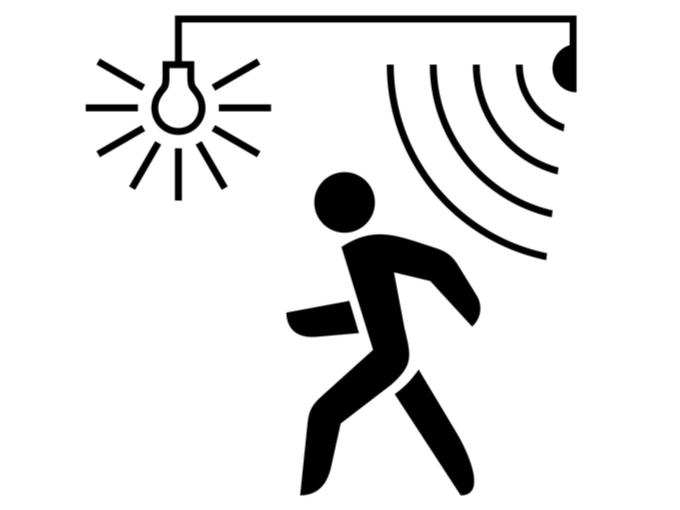 人影に反応するセンサーライトのイラスト