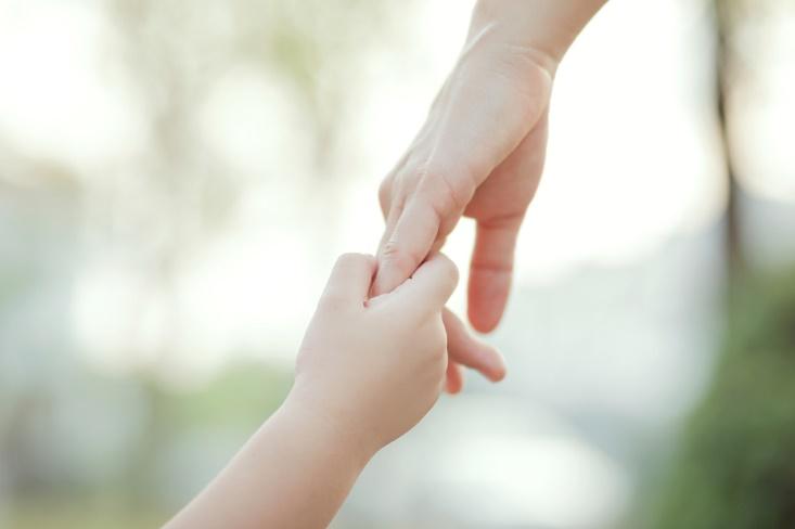 つながれている親子の手の画像