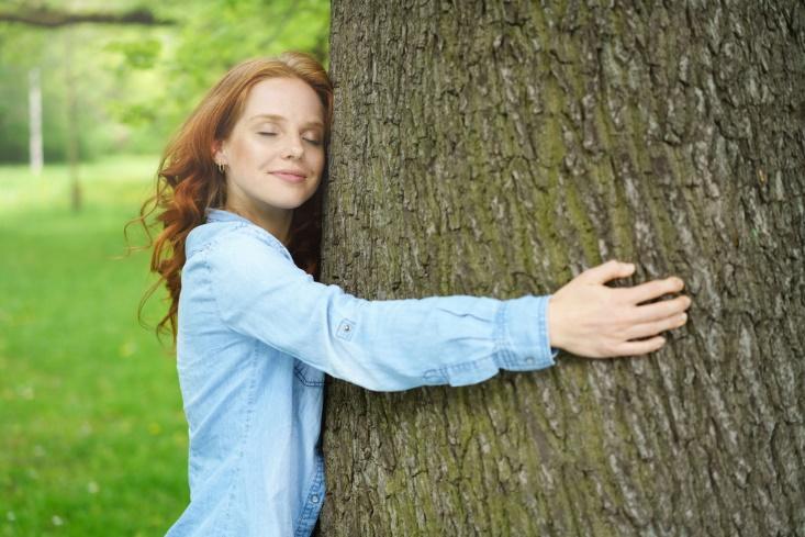 木を両腕で抱く女性の画像