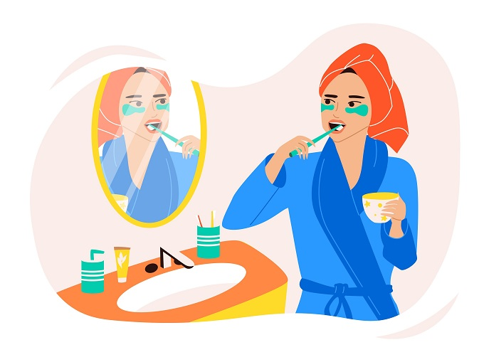 洗面所で歯をみがく女性のイラスト