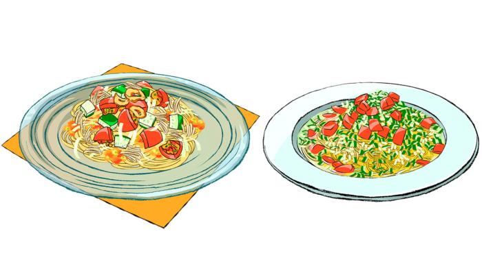 [夏野菜の冷製パスタレシピ]トマトやきゅうりのひんやり2選!