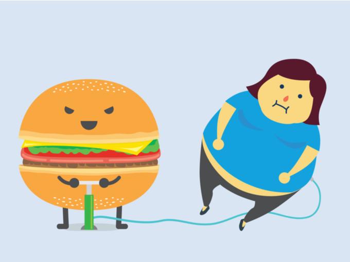 ハンバーガーのキャラクターが空気入れて女性を太らせているイラスト