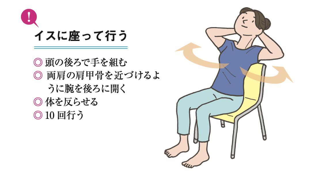 椅子に座って腕をうしろに開き、体を反らせる様子