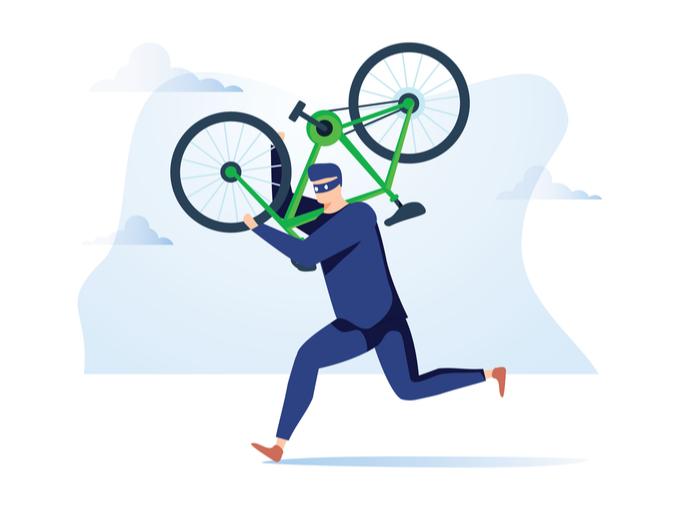 自転車窃盗犯のイラスト