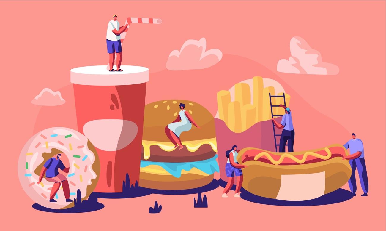 ドーナツやハンバーガーなどファストフードのうえに人が乗っているイラスト