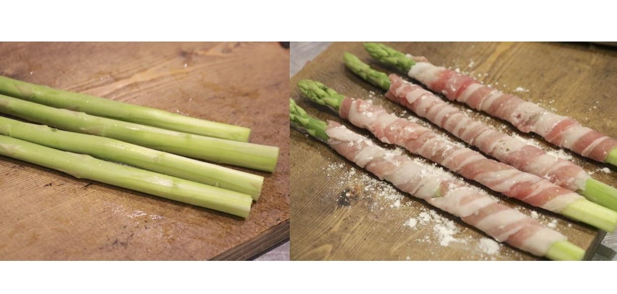 ピーラーなどで茎を削ったアスパラに肉を巻きつけ薄力粉をまぶす