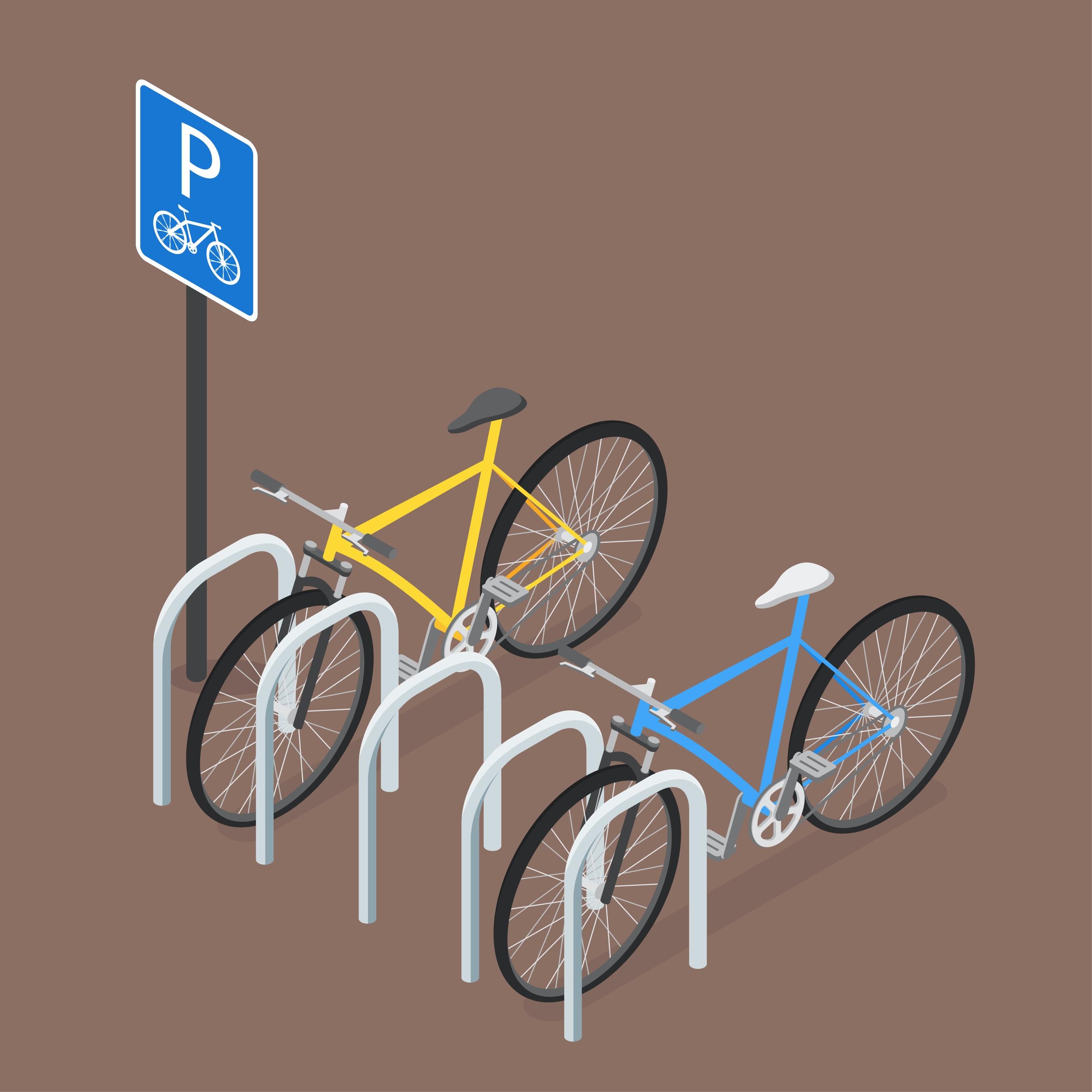 駐輪場に停めたスポーツタイプの自転車のイラスト