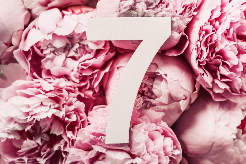 数字の7とお花