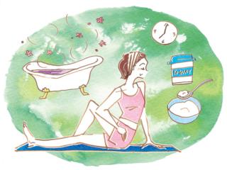 入浴やストレッチ、夜ヨーグルトなどのナイトルーティンと女性を表現したイラスト