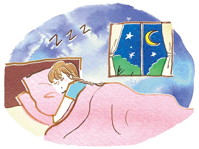 ぐっすり眠る女性のイラスト