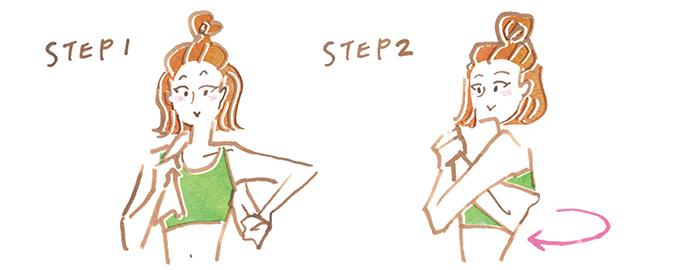 タオルで肩甲骨まわりの筋肉を刺激する女性