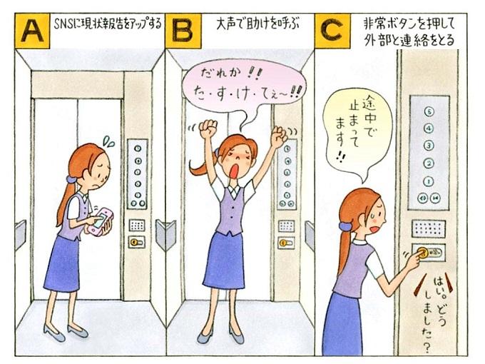 エレベーターに閉じ込められた女性のイラスト
