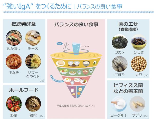 強いIgAをつくるための食事をまとめた図表