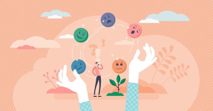 喜怒哀楽を表した表情のボールを交互に循環させている様子のイラスト