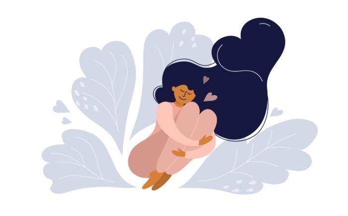 穏やかな表情で自分の心と体をいたわる様子の女性のイラスト