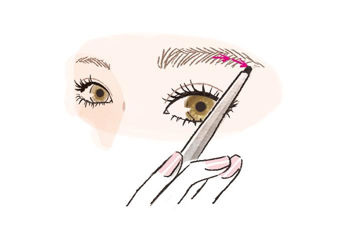 眉尻に向けてペンを進めているイラスト画像