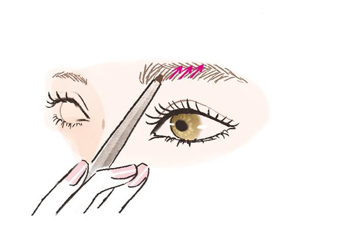 眉頭から中央へペンを進めているイラスト画像