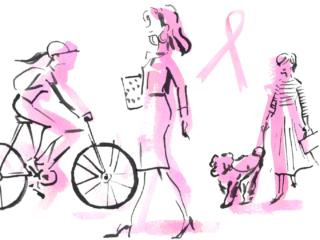 さまざまなライフスタイルの女性とピンクリボンのシルエット