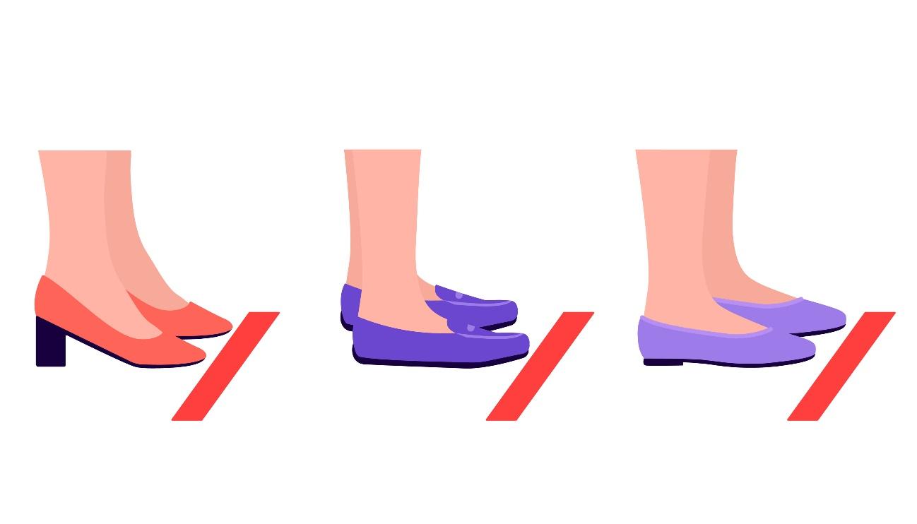 赤い線のところに並ぶ人の足元のイラスト