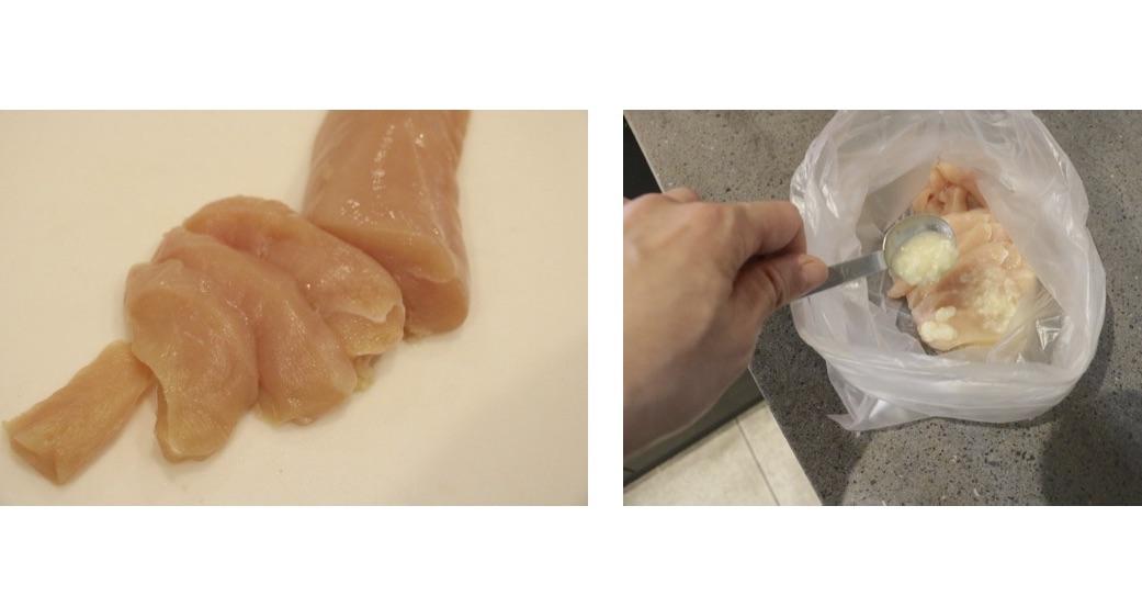 鶏むね肉を削ぎ切りにし塩麹でつける