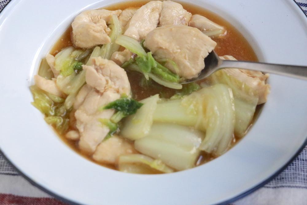 鶏むね肉と白菜の塩麹とろみ煮込みのアップ