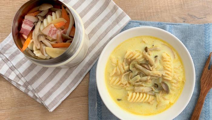 スープジャー×野菜パスタレシピ!温めた具材を入れて放置でOK