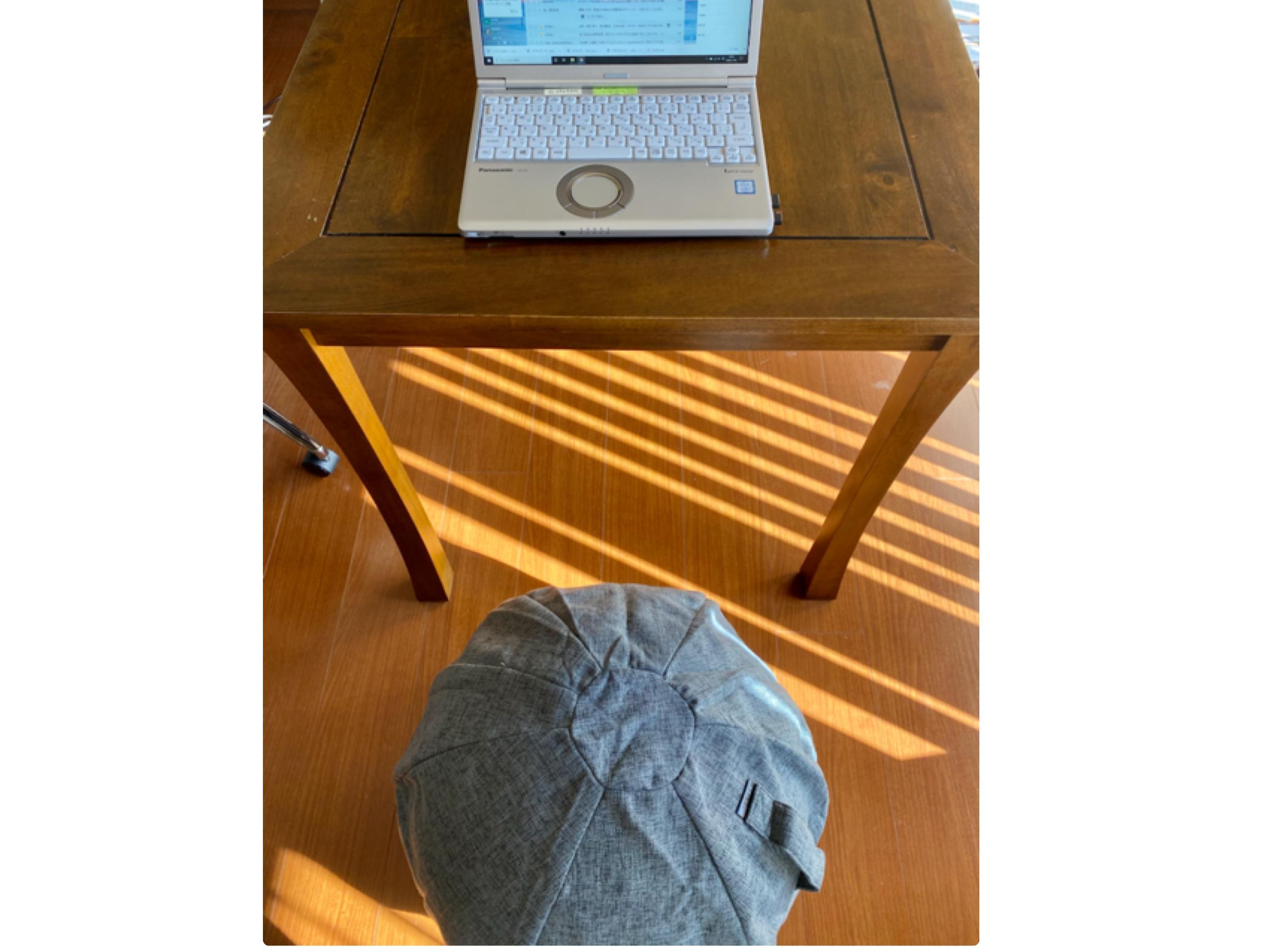 バランスボールを椅子にしてパソコン作業