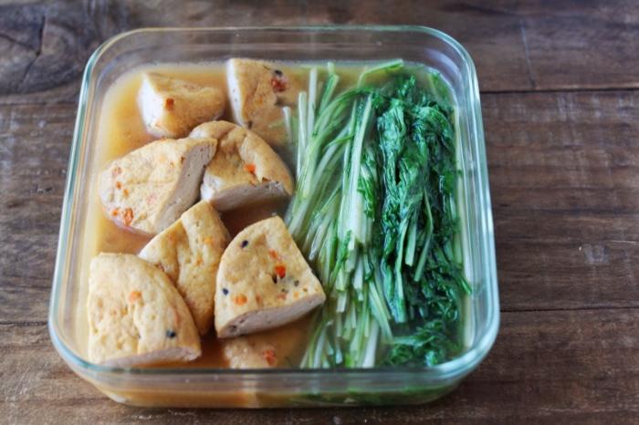 がんもと水菜の煮浸し