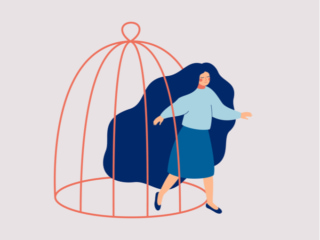 鳥かごから外に出る女性のイラスト