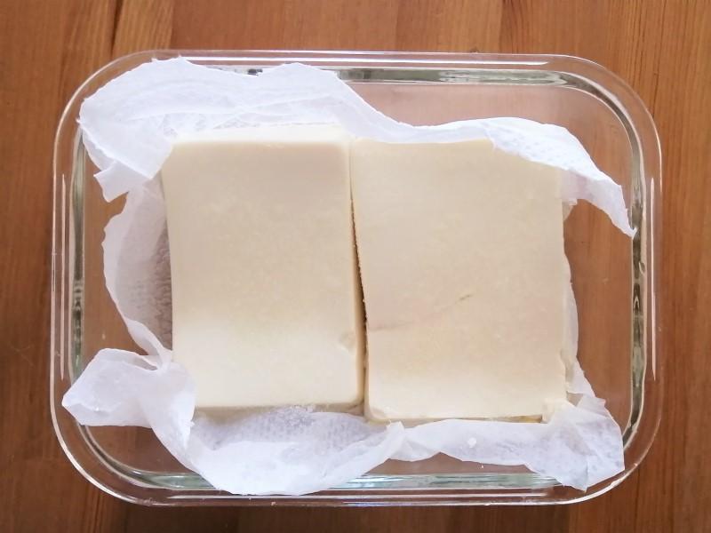 塩を振ったお豆腐の画像