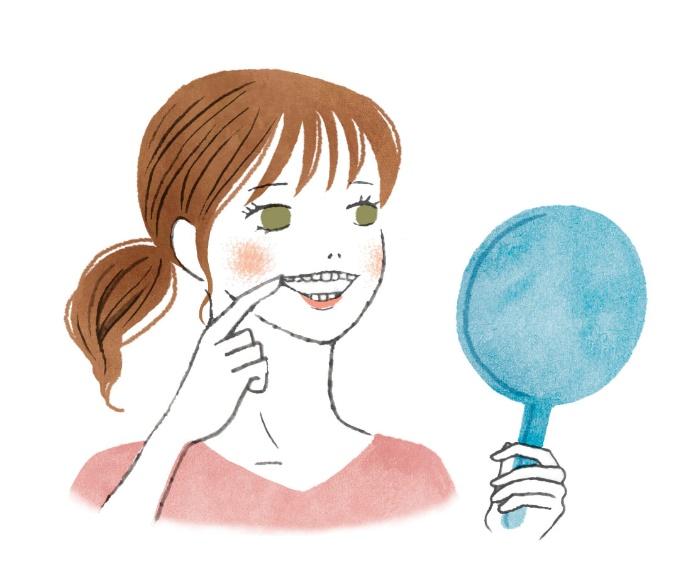 鏡で口の中をチェックしている女性のイラスト