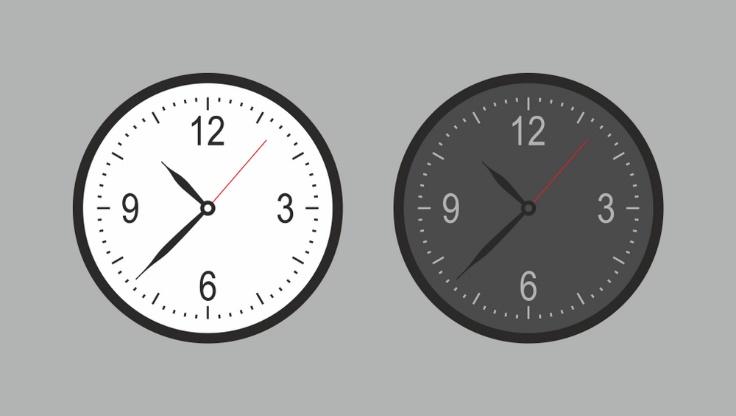 白と黒の時計が並んでいる画像