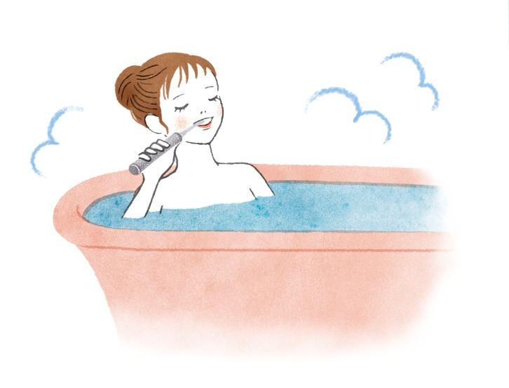 お風呂でじっくり歯磨きする女性のイラスト