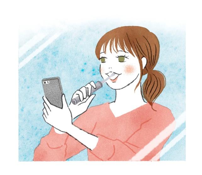 アプリでチェックしながら磨く女性のイラスト