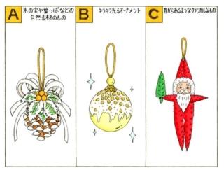 【心理テスト】クリスマスツリーの飾りつけをします。どんなオーナメントを飾る?