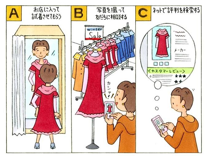 ショッピング中の女性のイラスト