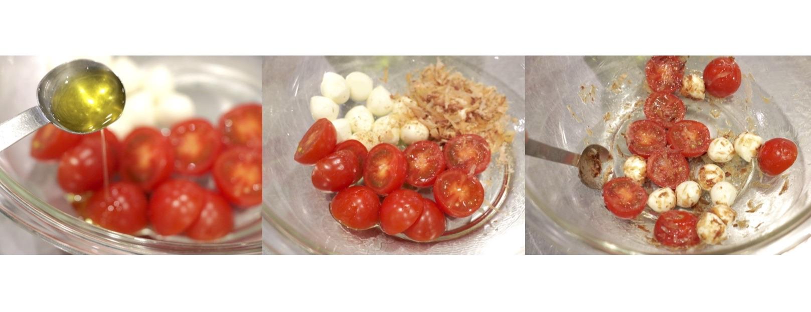 モッツアレラチーズとミニトマトその他材料をすべて和える