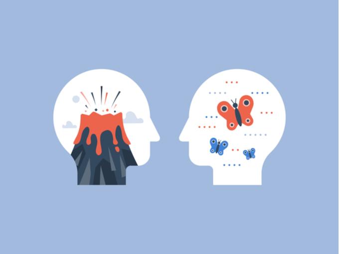 ストレスや心の安定を比較したイラスト