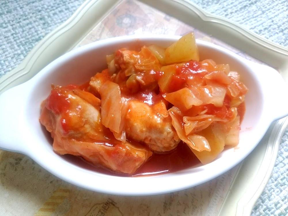 青パパイヤの手羽トマト煮